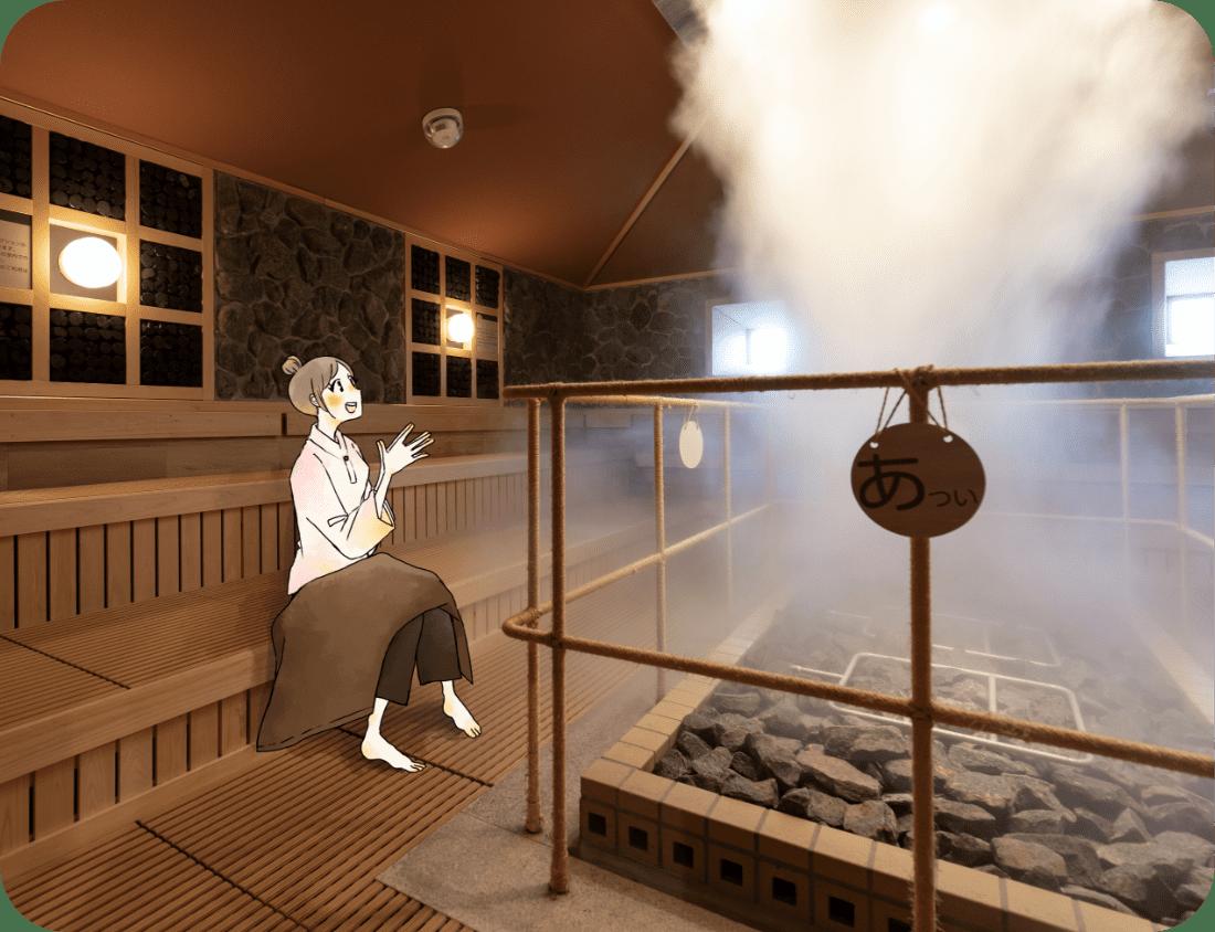 アロマの蒸気に包まれる 雲海ロウリュウは、室温50℃