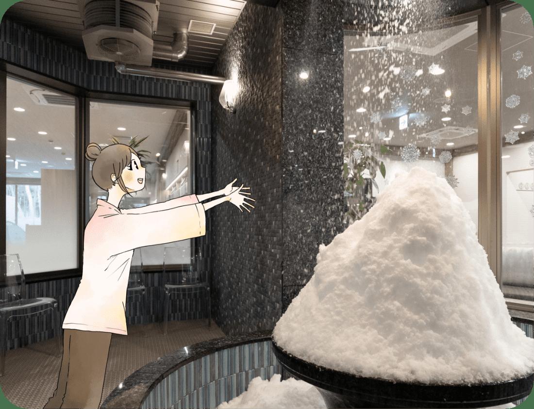 雪が降るクールルームは室温5℃