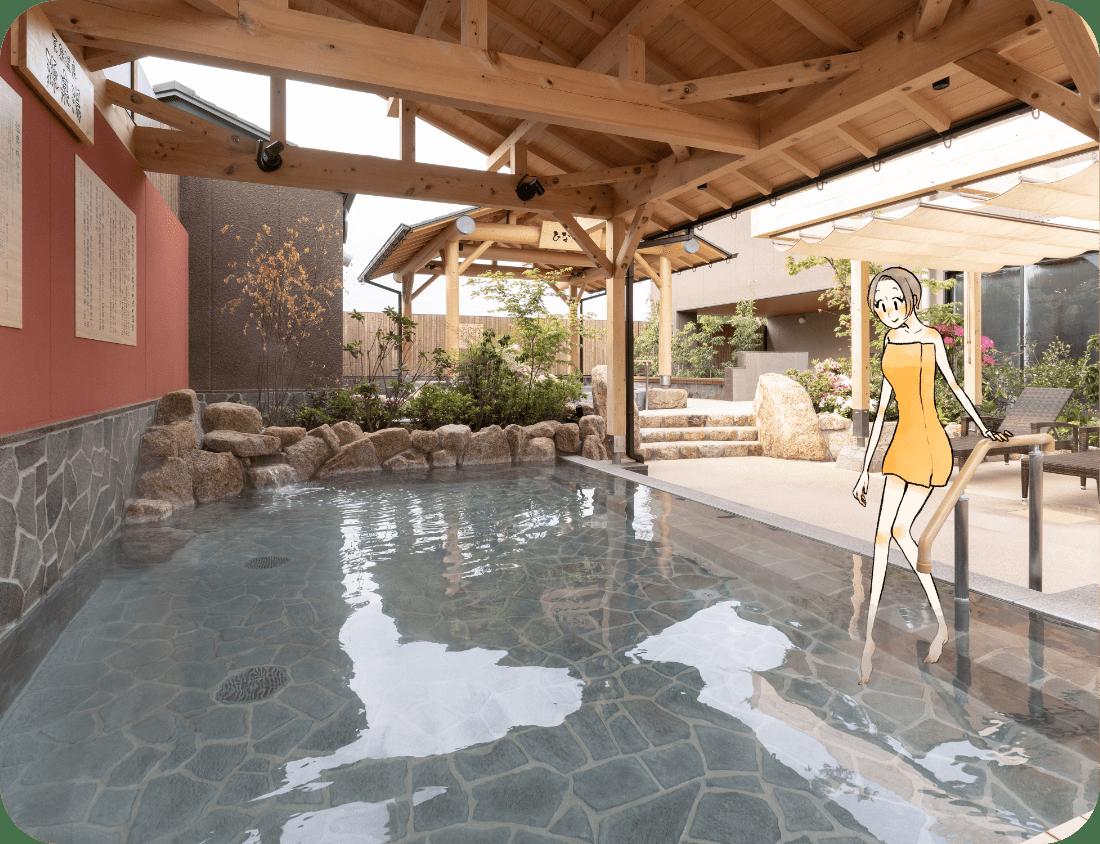 源泉 岩風呂。露天風呂です。