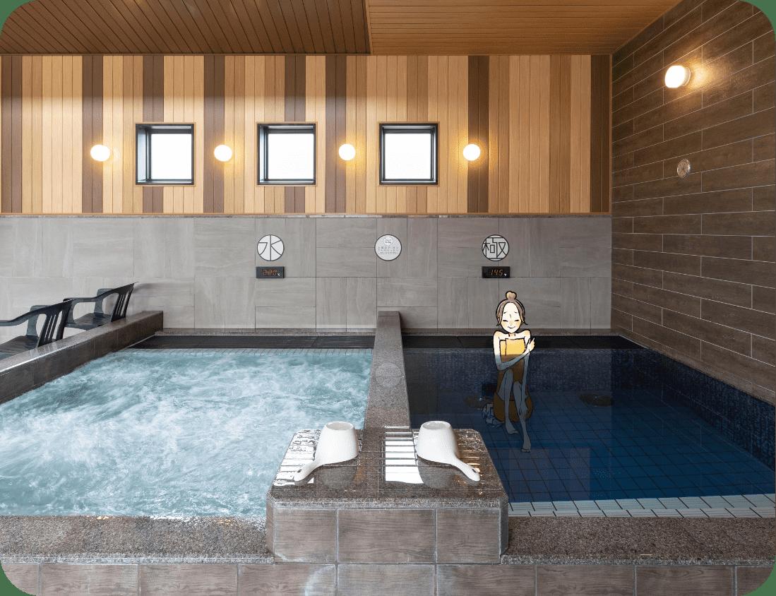 水風呂は22℃ 極水風呂(ごくみずぶろ)は14.5℃
